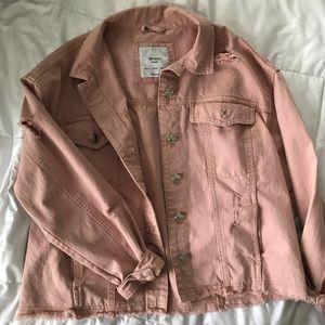 Bershka Distressed Pink Denim Jacket